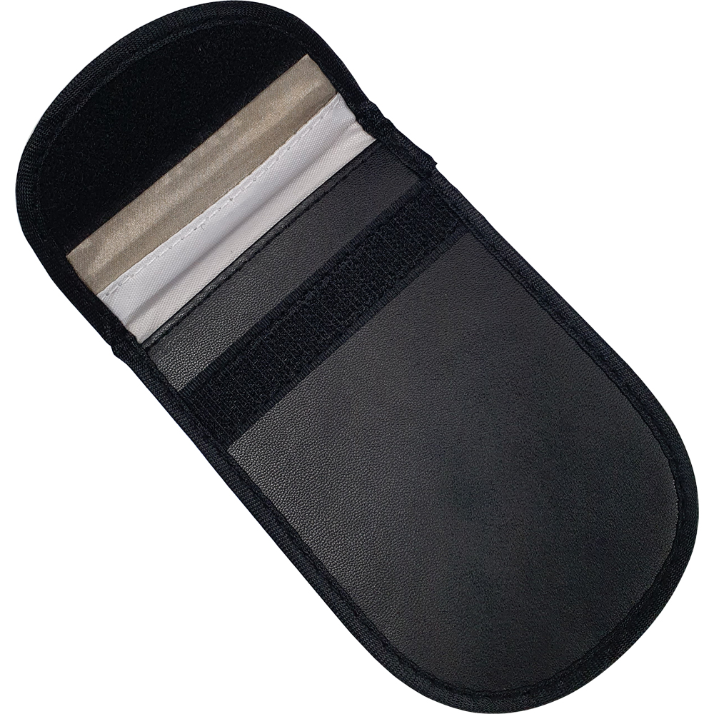 RFID Car Key Signal Blocking Pouch - Small. Pouch Dimensions - Width = 125mm Height = 80mm. RFID Cards