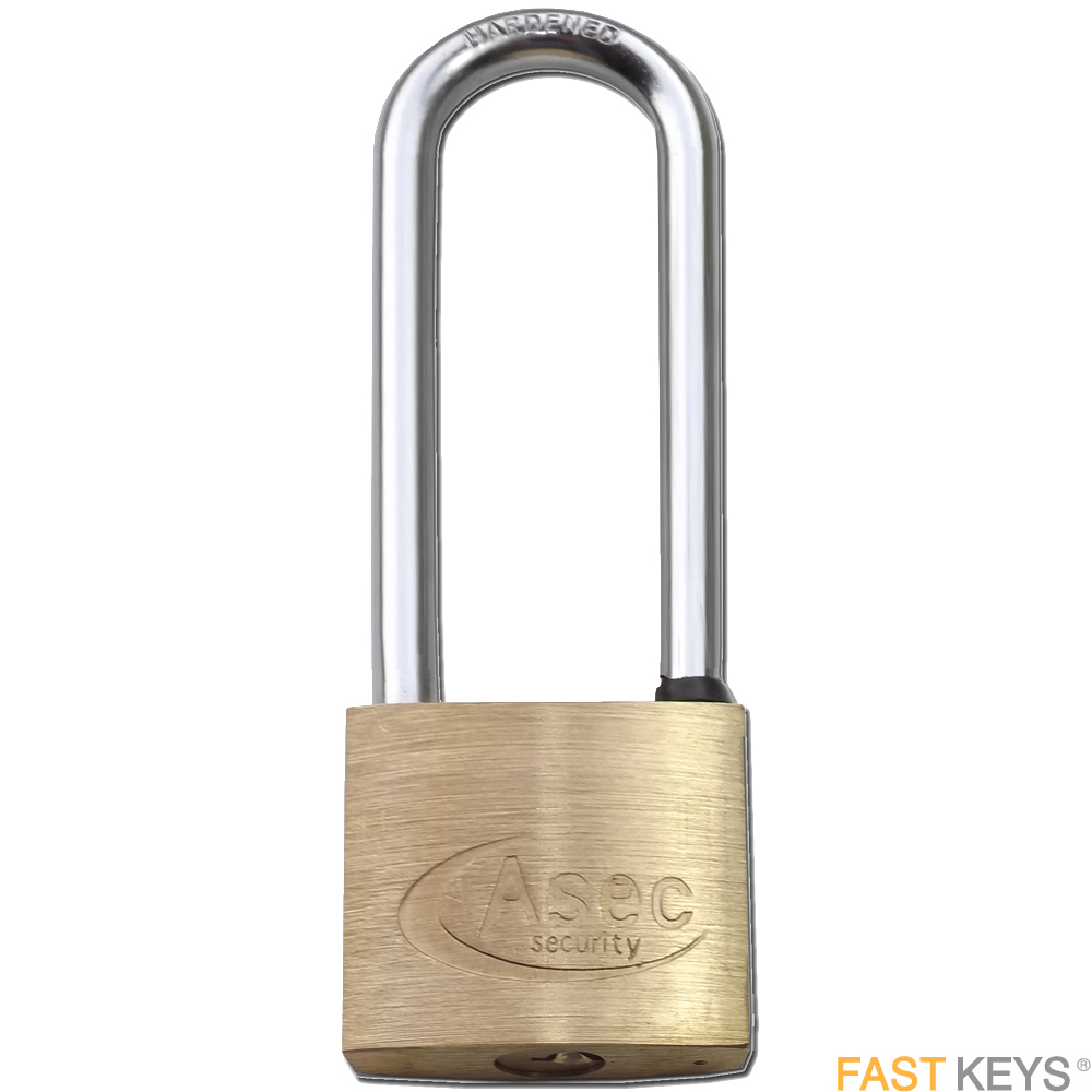Asec 40mm Brass Padlocks - Keyed Alike - Long Shackle