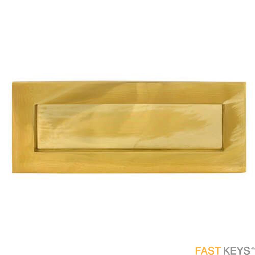 "TSSLET10X4B Victorian Sprung Letter Plate 10"" x 4"", Brass Finish Letter Box Hardware"