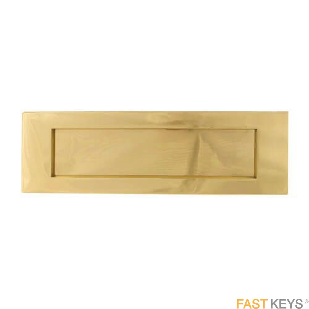 "TSSLET12X4B Victorian Sprung Letter Plate 12"" x 4"", Brass Finish Letter Box Hardware"