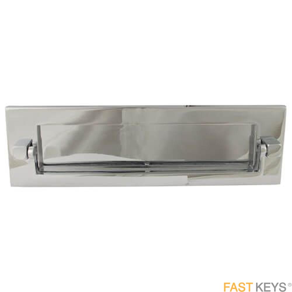 "TSSKNOCKLET10X3C Victorian Postal Knocker Letter Plate 8"" x 3"", Chrome Finish Letter Box Hardware"