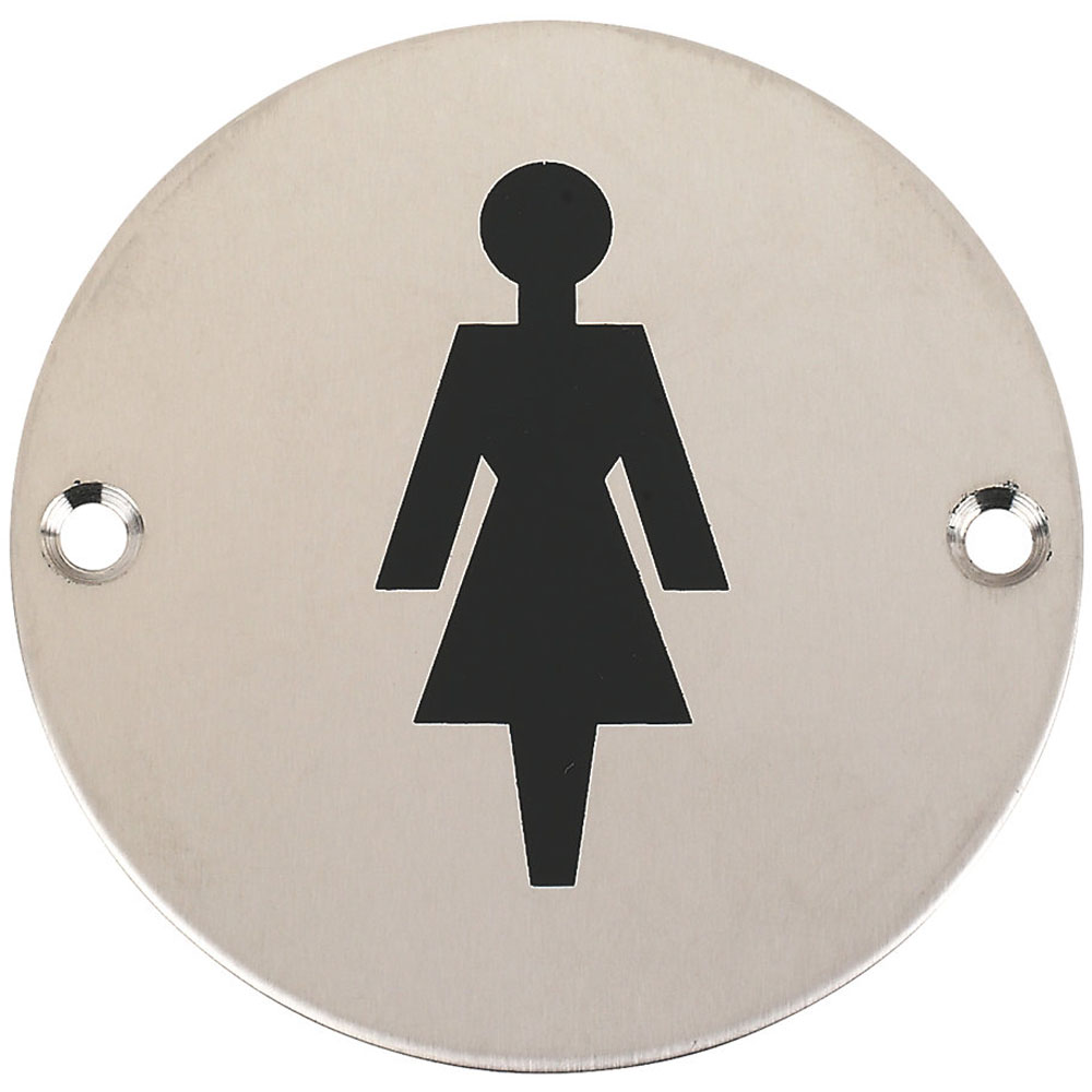 Female sign, polished stainless steel. Signs