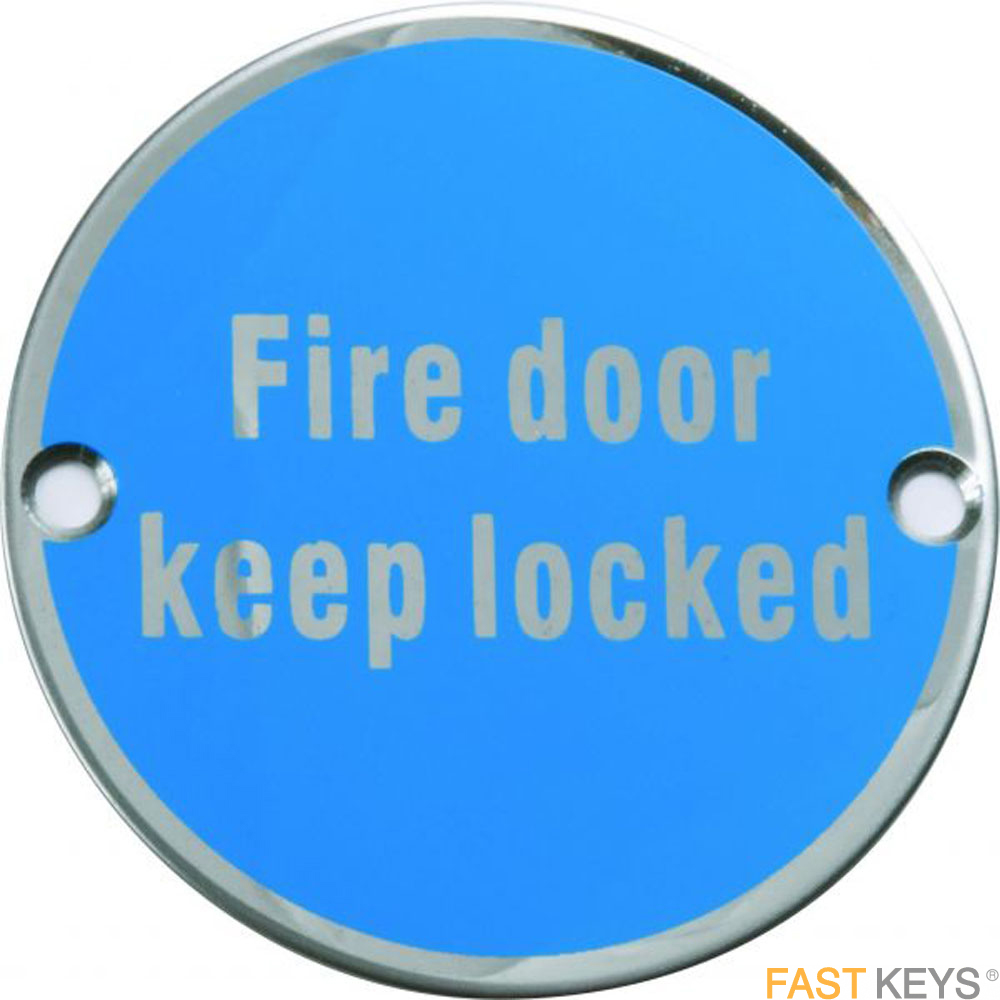 Fire door keep locked sign, satin stainless steel. Signs