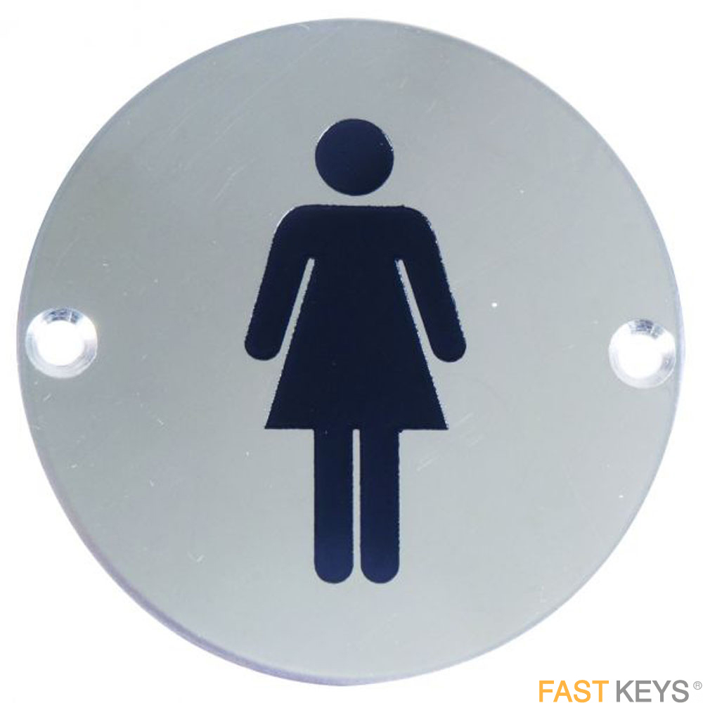 Female sign, satin stainless steel Signs