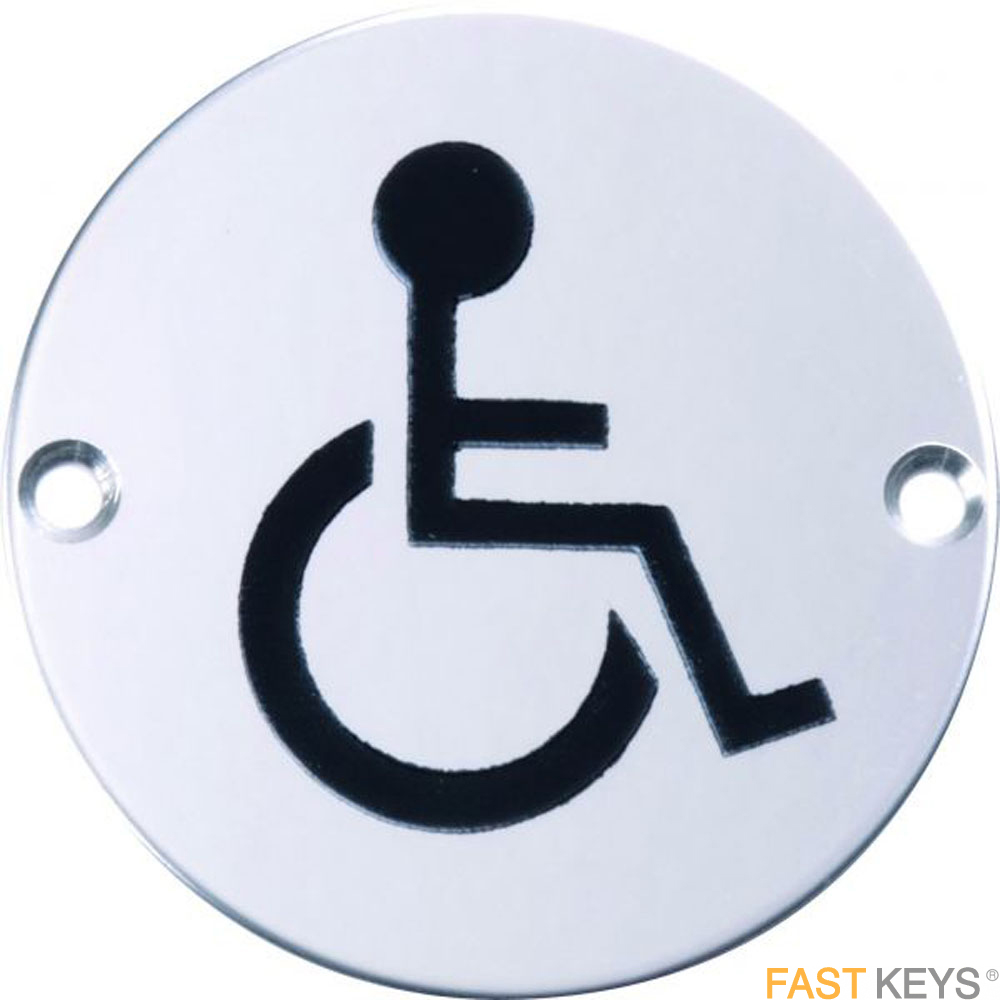 Disabled sign, polished stainless steel. Signs
