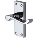 ISEO Door Handle Scroll Short Latch Polished Chrome Finish Wooden Door Handles
